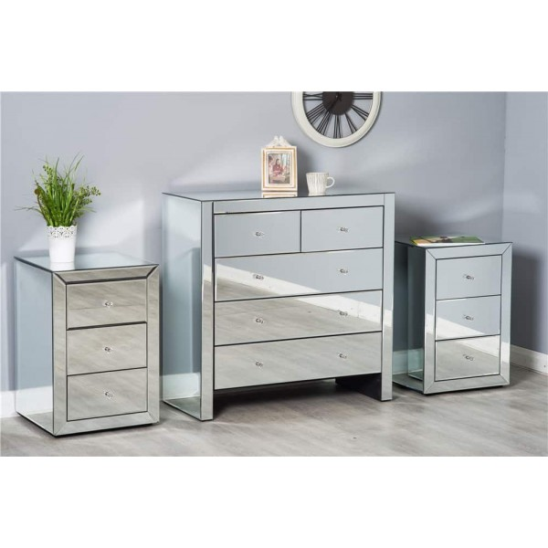 Mirrored Bedroom Furniture Set Dressing Table Chest Of Drawers Bedside Table Dreams Outdoors