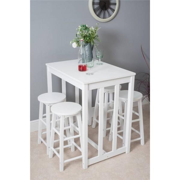 Groovy Pine Wood 5 Pcs Set Breakfast Bar Stools Table Dining Evergreenethics Interior Chair Design Evergreenethicsorg
