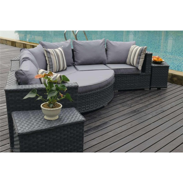Yakoe Rattan Garden Outdoor Furniture Half Moon Sofa Set
