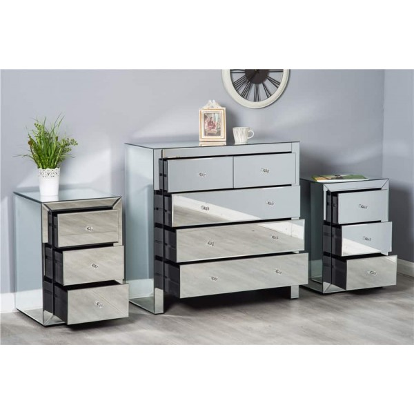Mirrored Glass Chest of Drawer | Bedside Table | Bedroom Furniture ...