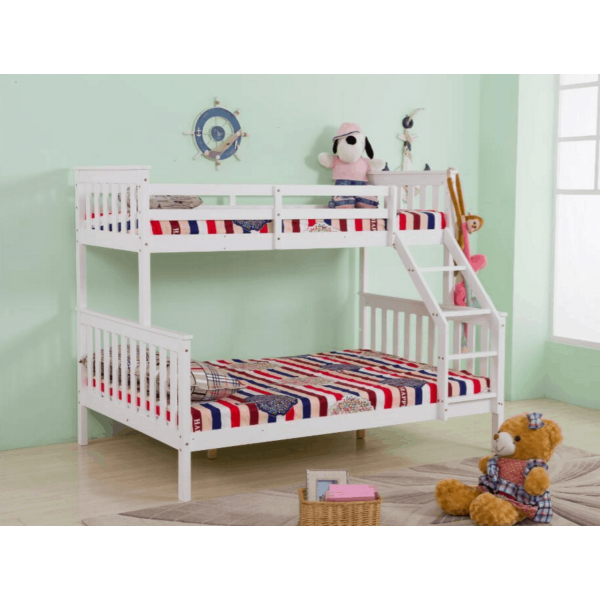 Quality white pine wood 3 sleeper triple bunk bed double for Single bunk bed frame