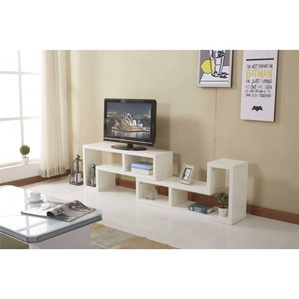 white modern tv cabinet furniture stand 2 l shaped shelves storage dreams outdoors. Black Bedroom Furniture Sets. Home Design Ideas