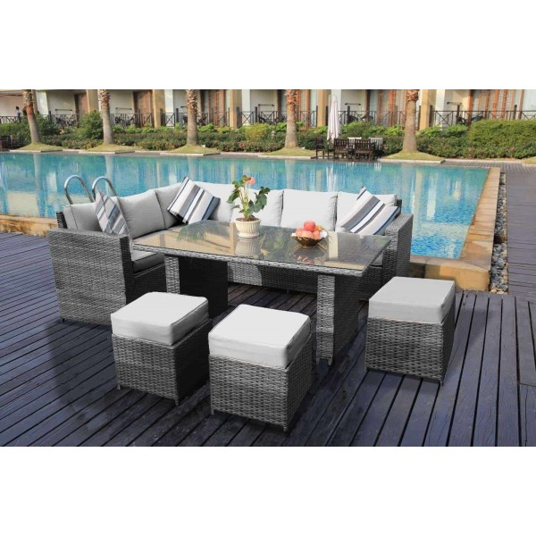 Yakoe 9 Seater Rattan Dining Sofa Set Grey Dreams Outdoors