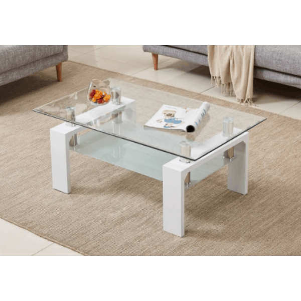Transparent Coffee Table Uk: HIGH GLOSS MODERN RECTANGLE COFFEE TABLE White Wood