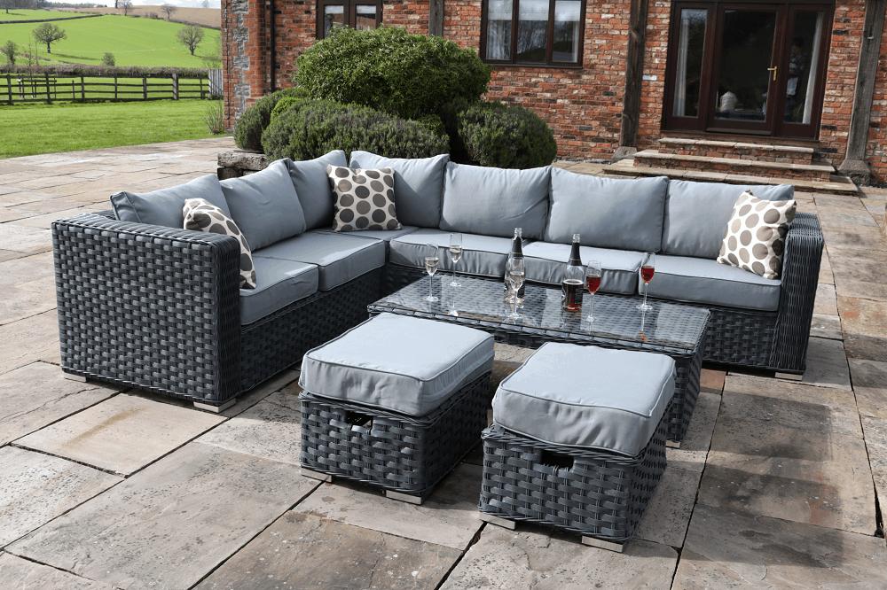 Grey Yakoe Papaver 8 Seater Corner Garden Sofa Set