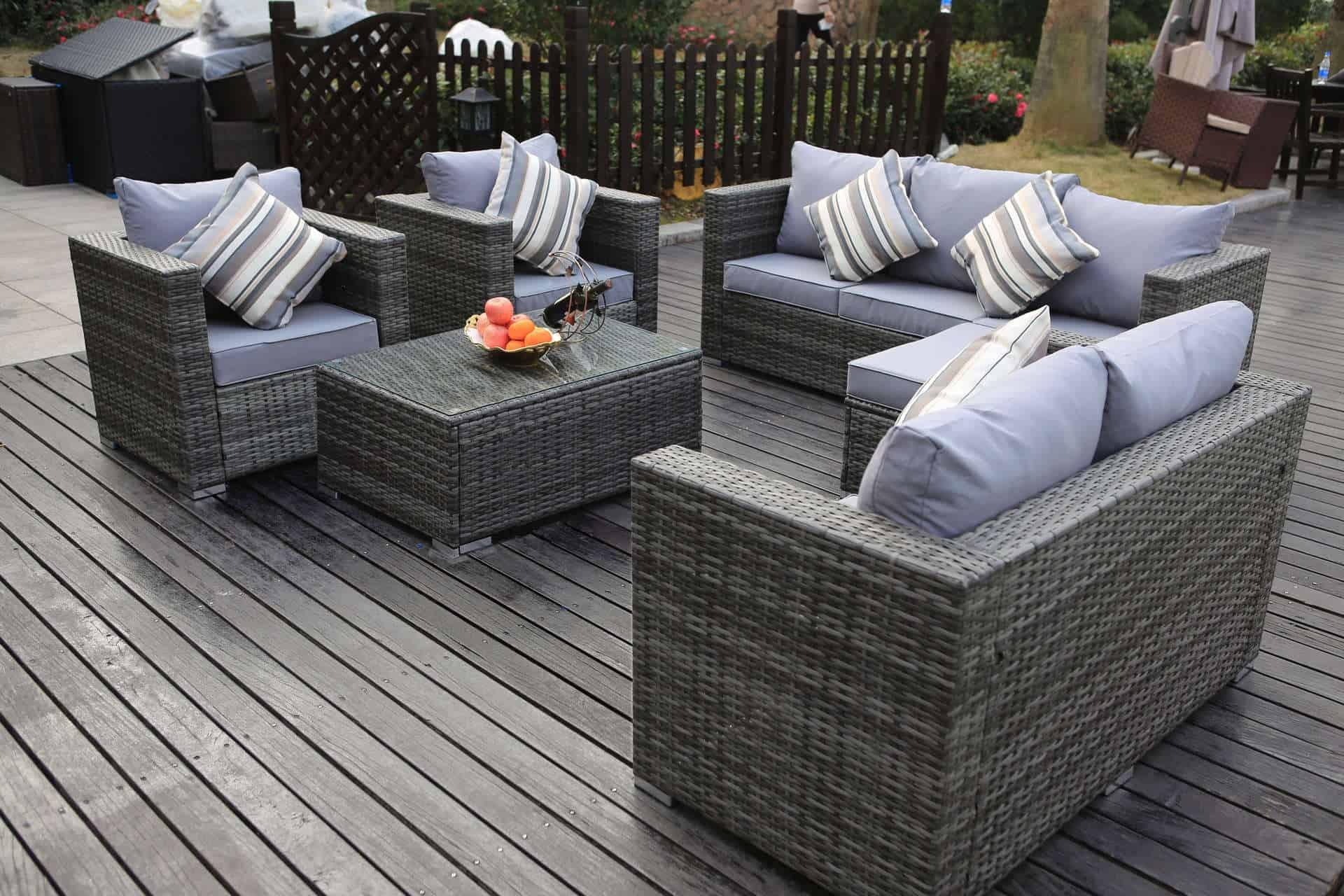 Yakoe Manaco 6 Peices 8 Seater Set Square Dreams Outdoors