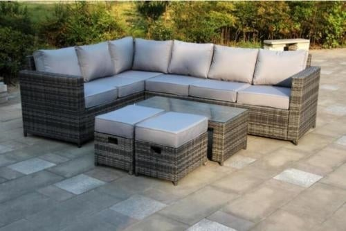 Yakoe 8 Seater Rattan Corner Sofa Set Black Dreams Outdoors