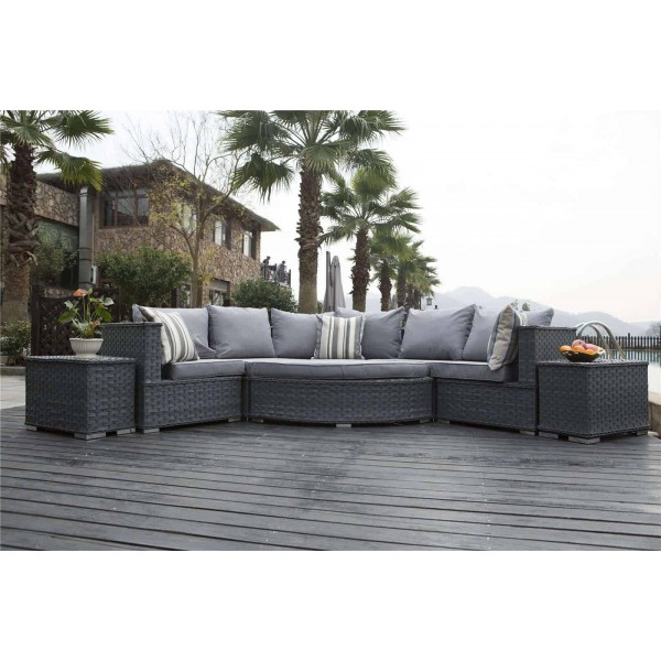 Yakoe Rattan Garden Outdoor Furniture Half Moon Sofa Set ...