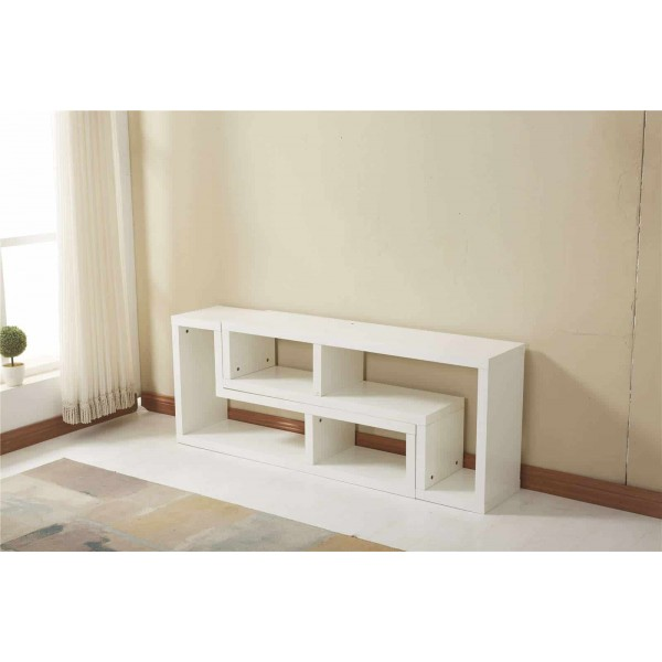 white modern tv cabinet furniture stand 2 l shaped shelves storage. Black Bedroom Furniture Sets. Home Design Ideas