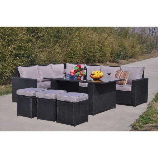 Yakoe 9 Seater Rattan Dining Sofa Set Dreams Outdoors